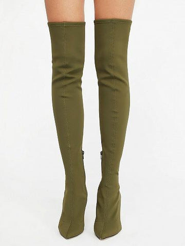 Green Stretch Over The Knee Heeled Boots