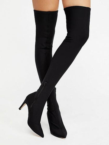 Black Stretch Over The Knee Heeled Boots