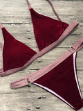 Vintage Triangle Splicing Bikini Set