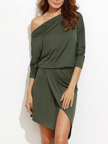 Green One Shoulder Long Sleeve Asymmetric Hem Wrap Dress
