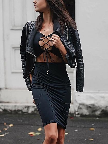 Black Lace Up Front Open Belly Bodycon Dress