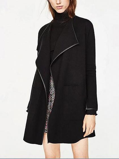Black Lapel Open Front Long Sleeve Knit Cardigan