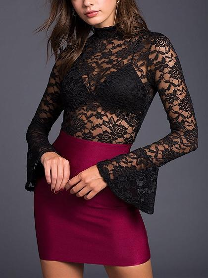 Black High Neck Flare Sleeve Open Back Lace Bodysuit