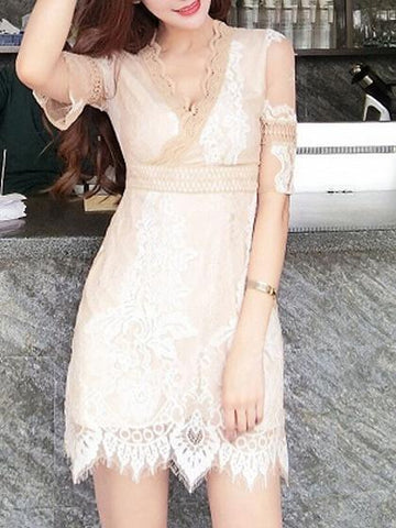 Beige Plunge Scallop Edge Sheer Sleeve Lace Overlay Mini Dress