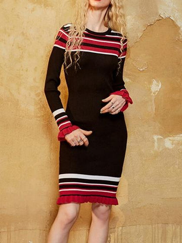 Black Stripe Ruffle Hem Long Sleeve Knitted Bodycon Dress