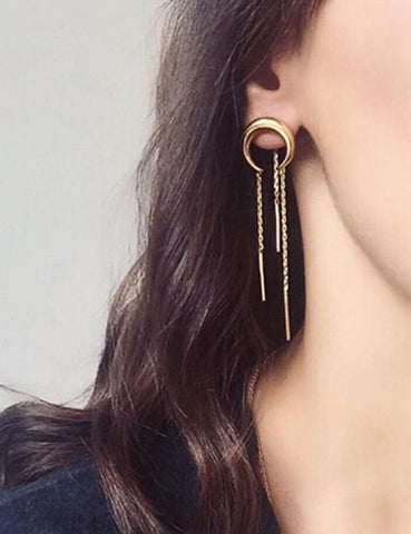 Minimalist Moon Tassels Style Earrings