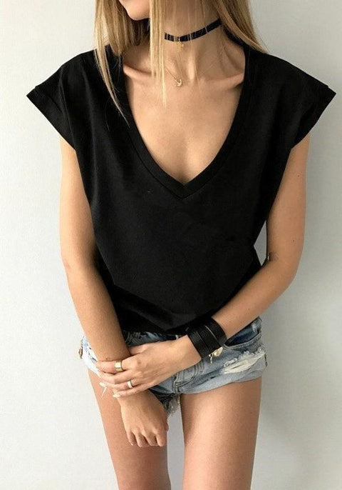 DaysCloth Black Short Sleeve V-neck Casual Going out T-Shirt