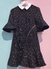 DaysCloth Black Sequin Detail Flounce Hem Flare Sleeve Mini Dress