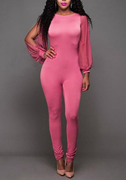 DaysCloth Pink Grenadine Spliced Backless Bodycon Long Sleeve High Waisted Clubwear Party Jumpsuit Pant
