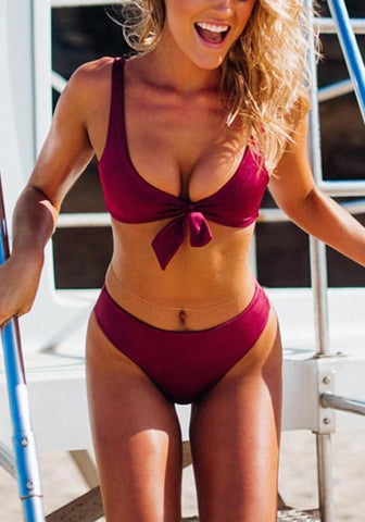 Burgundy Backless Lace-up Two Piece Round Neck Bikini Swimwear