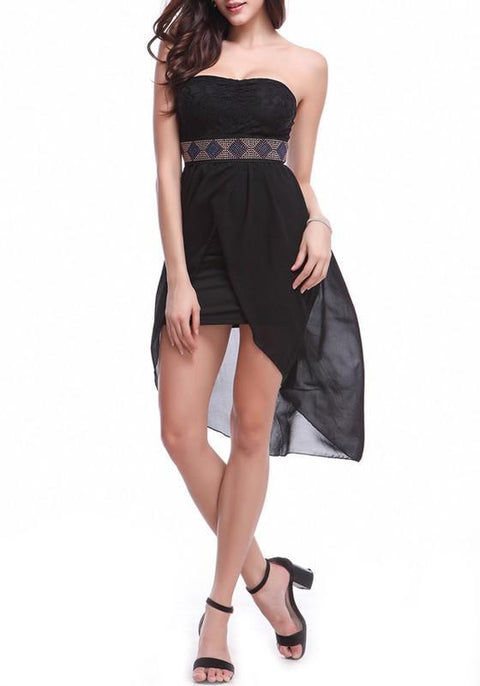 DaysCloth Black Patchwork Rhinestone Belt Irregular Bandeau Midi Dress