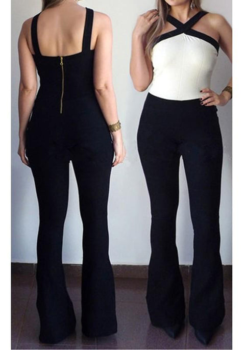 DaysCloth Black-White Backless Condole Belt Zipper High Waisted Long Jumpsuit