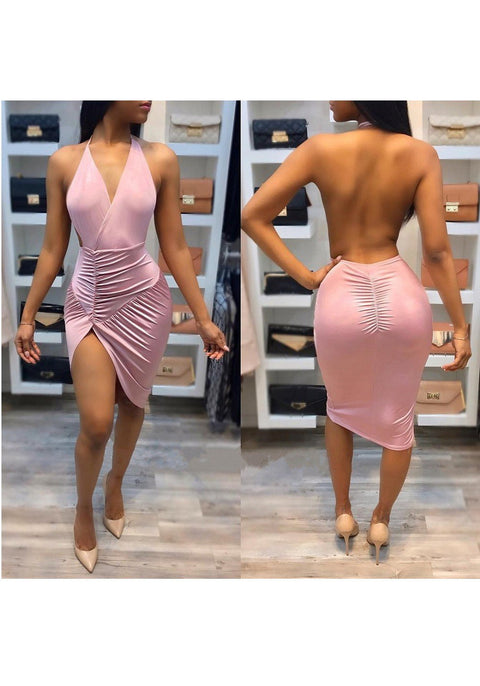 DaysCloth Pink Spaghetti Strap Halter Neck Irregular Backless Ruched Party Midi Dress
