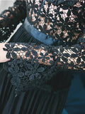 Black Lace Panel Cut Out Detail Flare Sleeve Mini Dress