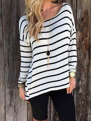 Fashion Stripe Top Long Sleeve Shirt