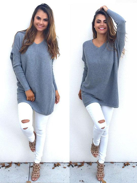 DaysCloth Casual Oversize Solid Color Sweater