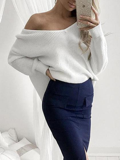 Fashion Casual White Bishop Deep V Neck Knit Sweater