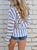DaysCloth Casual Striped Hoodie Top