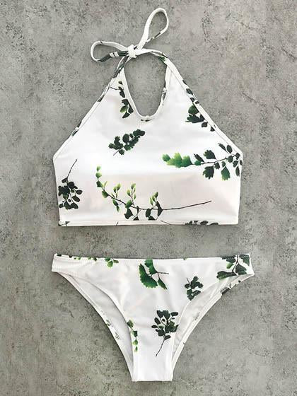 Summer Vibes Cute Branches Print Bikini Set