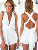 DaysCloth Fashion Plain Backless Romper