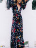 DaysCloth Black Plunge Tie Waist Floral Print Dress