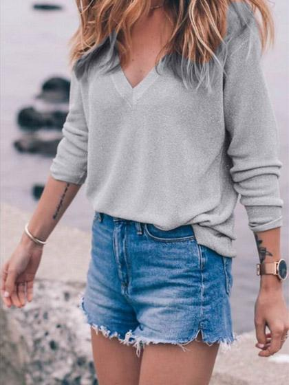 Casual V Neck Solid Color Loose Top