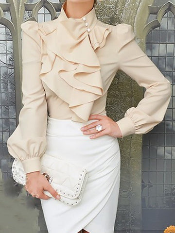 Beige High Neck Long Sleeve Shirt With Ruffle Front