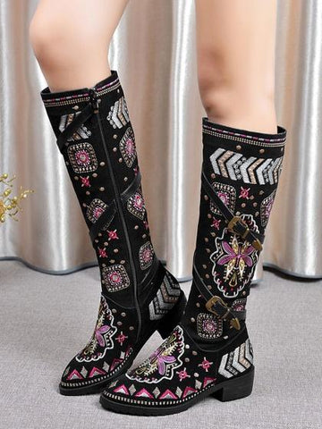 DaysCloth Black Suede Embroidery Tribal Pattern Strap Detail Boots