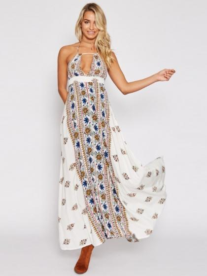White Halter Plunge Print Detail Open Back Maxi Dress