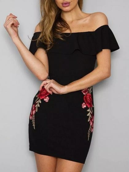 Black Off Shoulder Ruffle Trim Floral Embroidery Mini Dress