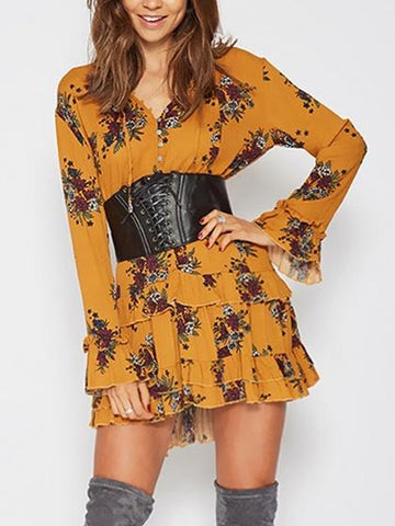 Yellow V-neck Tie Front Floral Flare Sleeve Ruffle Hem Mini Dress