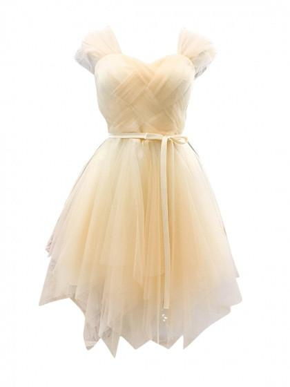 Beige Sweetheart Stretch Back Tulle Homecoming Dress