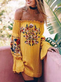 Yellow Off Shoulder Embroidery Floral Flare Sleeve Mini Dress