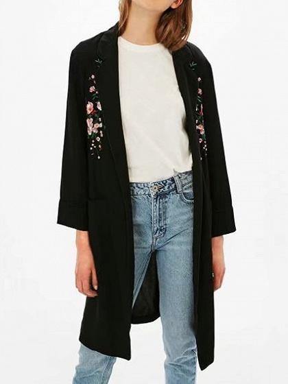 Black Lapel Open Front Tie Waist Floral Embroidery Coat