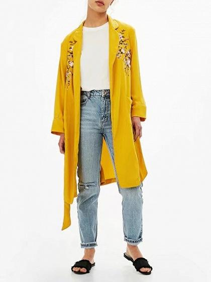 DaysCloth Yellow Lapel Open Front Tie Waist Floral Embroidery Coat