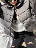 Gray Batwing Sleeve Padded Hooded Coat