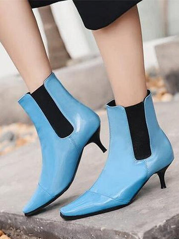 DaysCloth Blue Square Toe Heeled Ankle Boots