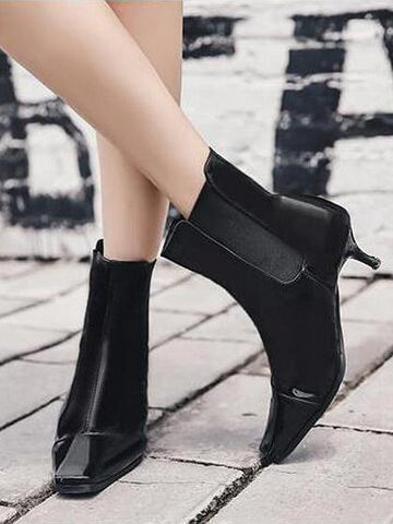 DaysCloth Black Square Toe Heeled Ankle Boots