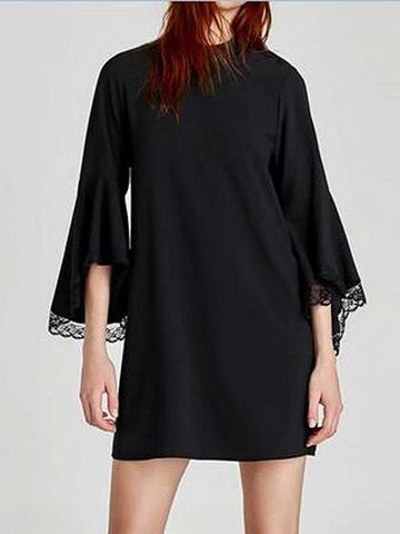 DaysCloth Black Stand Collar Lace Panel Flare Sleeve Mini Dress