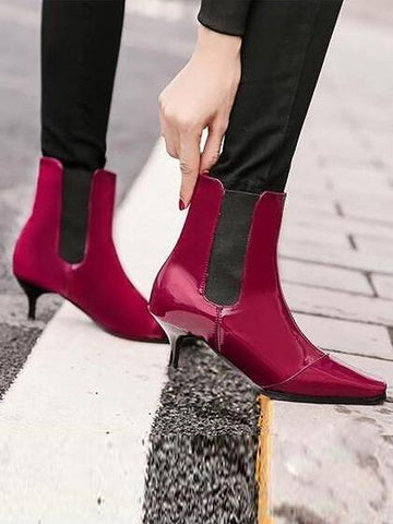 DaysCloth Burgundy Square Toe Heeled Ankle Boots