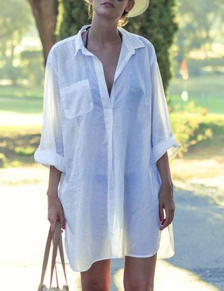 DaysCloth Summer Walk Fashion Oversize Solid Color Cover Up