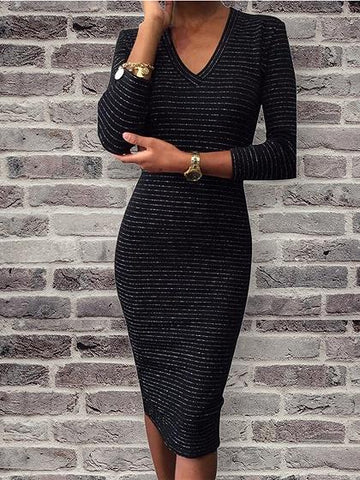 DaysCloth Black V-neck Long Sleeve Bodycon Midi Dress