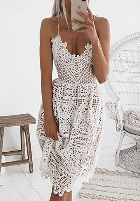 DaysCloth White Floral Lace Cut Out Spaghetti Strap Backless Lace-up Banquet Party Midi Dress