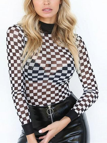 DaysCloth Black Checker High Neck Long Sleeve Bodysuit