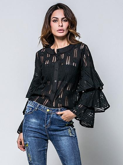 DaysCloth Black Ruffle Detail Flare Sleeve Lace Shirt