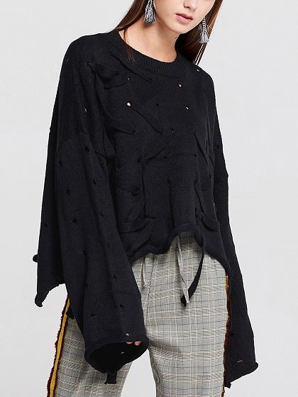 Black Lace Up Asymetric Hem Long Sleeve Knit Sweater