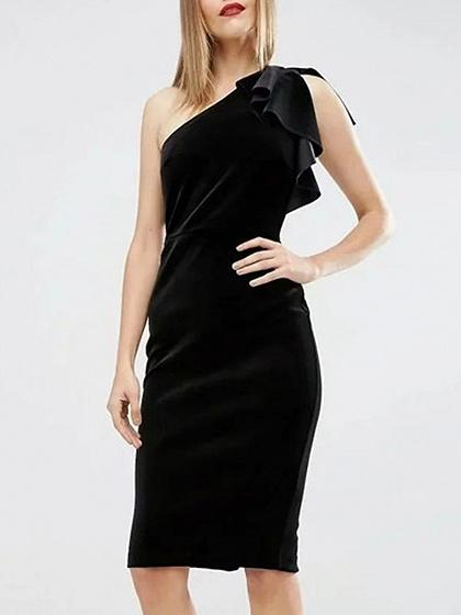 Black Velvet One Shoulder Ruffle Detail Bodycon Dress