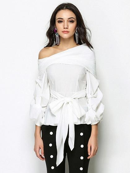 DaysCloth White One Shoulder Bow Tie Front Long Sleeve Blouse
