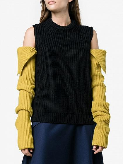 DaysCloth Black Cold Shoulder Contrast Sleeve Chunky Knit Sweater