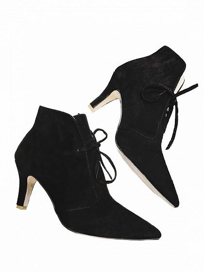 DaysCloth Black Faux Suede Lace Up Pointed Ankle Boots